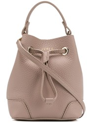 Furla Logo Print Bucket Bag Neutrals