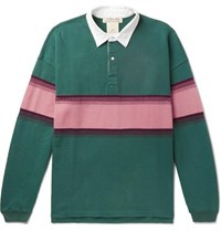 Remi Relief Twill Trimmed Striped Cotton Jersey Polo Shirt Green