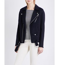 Theory Tralsmin Wool And Cashmere Blend Biker Jacket Nocturne
