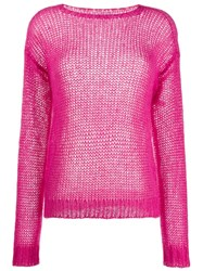 Prada Ribbed Crew Neck Knitted Top Pink