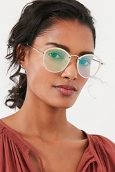 Urban Outfitters Rimless Overlay Round Sunglasses Yellow