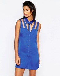Glamorous Sleeveless Shirt Dress With Cut Out Detail Blue