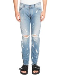 Palm Angels Light Wash Distressed Jeans Blue