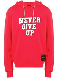 Roberto Cavalli Never Give Up Hoodie Red