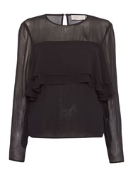 Label Lab Ruffle Front Blouse Black