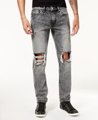 Guess Men's Slim Tapered Fit Destroyed Jeans Acid Wash Black W Destroy