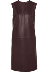 Joseph Gwen Leather Dress Burgundy