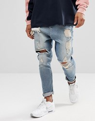 Asos Drop Crotch Jeans In Vintage Light Wash Blue With Heavy Rips Light Wash Vintage