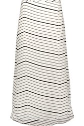Theory Vivridge Striped Silk Chiffon Midi Skirt Ivory