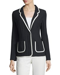 St. John One Button Slim Fit Jacket Black White