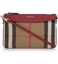 Burberry Peyton Canvas Clutch Russet Red
