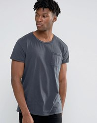 Selected Homme Oil Wash Over Sized Pocket T Shirt Ombre Blue