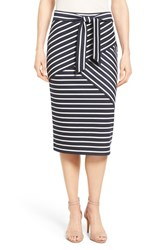 Halogenr Petite Women's Halogen Stripe Tie Waist Tiered Front Knit Tube Skirt Navy White Tier Stripe