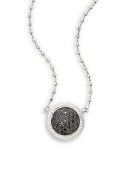 Alor Black Diamond 18K White Gold And Stainless Steel Pendant Necklace