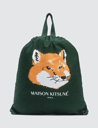 Maison Kitsune Fox Head Tote Backpack Green