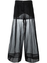 Emilio Pucci Sheer Wide Leg Trousers Black