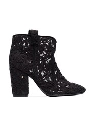 Laurence Dacade 95 Pete Crochet Ankle Boots Cotton Leather Black