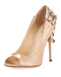 Jerome C. Rousseau Lover Patent Pump With Heel Detail Nude