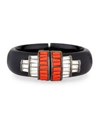 Alexis Bittar Crystal Baguette Barrel Cuff Bracelet Clear Orange