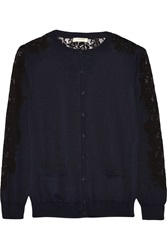Nina Ricci Lace Paneled Silk And Cotton Blend Cardigan Blue