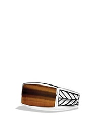David Yurman Chevron Narrow Ring With Tiger's Eye