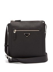Prada Logo Plaque Leather Messenger Bag Black