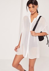 Missguided Chiffon Short Sleeve Shirt Dress White White