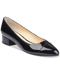 Ivanka Trump Larrie Cap Toe Pumps Women's Shoes Black Patent