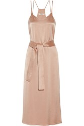 Halston Heritage Belted Satin Midi Dress Beige