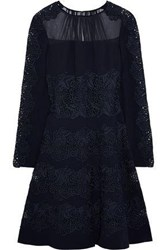 Elie Tahari Cora Georgette Paneled Guipure Lace And Crepe Dress Black
