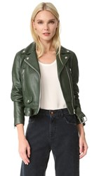 Acne Studios Mock Leather Moto Jacket Forest Green