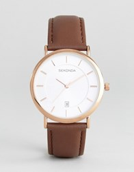 Sekonda Leather Watch In Brown Exclusive To Asos