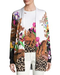 Etro Floral And Animal Print Stampa Open Cardigan Black Multi
