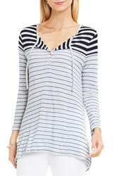 Vince Camuto Women's Two By Thick 'N' Thin Stripe Tie Neck Henley Tee