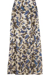 Michael Van Der Ham Judith Fil Coupe Silk Blend Maxi Skirt Cream