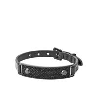 Michael Kors Pave Plaque Leather Buckle Bracelet Black