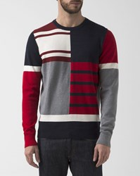 Tommy Hilfiger Navy Blue And Red Colour Block Cotton Sweater