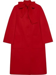 Gucci Wool Coat With Self Tie Red