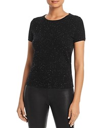 Bloomingdale's C By Short Sleeve Cashmere Sweater 100 Exclusive Black Donegal
