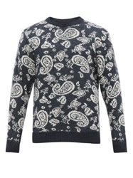 Aries Paisley Jacquard Sweater Navy