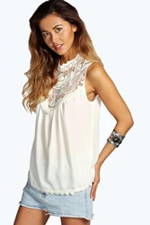 Boohoo Crochet Trim High Neck Sleeveless Blouse White