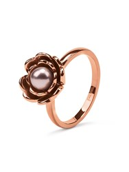 Folli Follie Grace Flair Pink Pearl Flower Ring Rose Gold