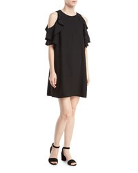 Kate Spade Cold Shoulder Crepe Dress Black