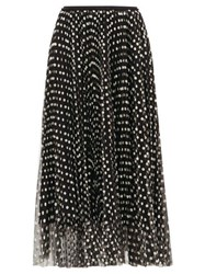 Red Valentino Redvalentino Daisy Embroidered Pleated Mesh Skirt Black
