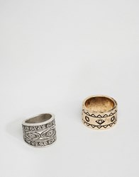 Asos Aztec Ring Pack In Burnished Gold Multi