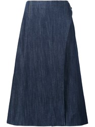 Adam By Adam Lippes Midi Wrap Skirt Blue