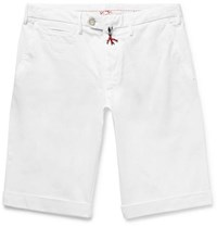 Isaia Slim Fit Stretch Cotton Twill Bermuda Shorts White