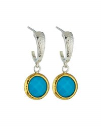 Gurhan Galapagos Small Hoops W Round Turquoise Drops Silver
