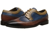 Messico Chamarel Yellow Blue Cognac Leather Men's Dress Flat Shoes
