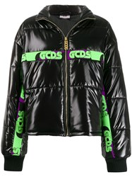 Gcds Logo Stripe Puffer Jacket Black